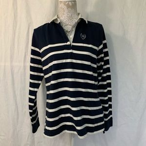 Tommy Hilfiger // Navy, White Striped Rugby Top L